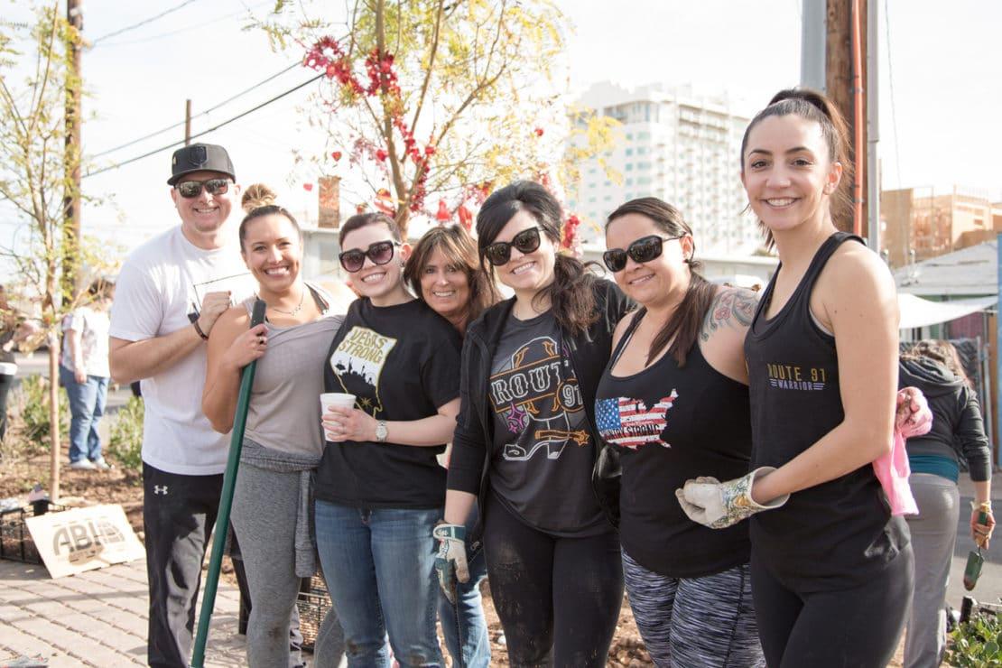 Vegas Strong Volunteers at Healing Garden Memorial