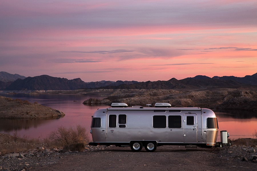 Airstream lakeside by professional photographers Square Shooting Las Vegas